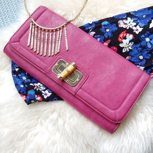 Banana Republic Pink Clutch w/Bamboo & Gold Latch